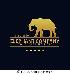 Elephant company. Logo or emblem. Vector logo illustration.