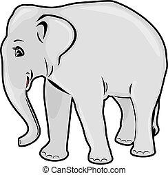 elephant., contorno, dibujo