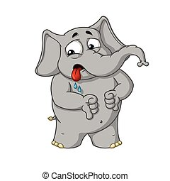 Big collection vector cartoon characters of elephants on an isolated background. Shows a dislike