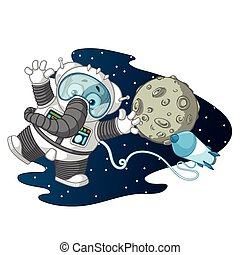 Elephant. Character. Astronaut in space, weightless. Big collection of isolated elephants. Vector, cartoon.