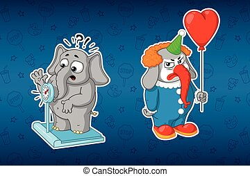 Stickers elephants. Elephant on the scales. Clown with balloon. Big set of stickers. Vector, cartoon.
