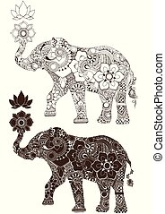elephant decorated with Indian ornament
