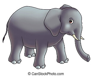 elephant cartoon illustration for kids.
