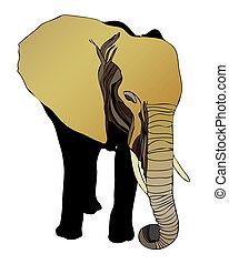 Elephant (Elephantidae) - Illustration representing an African elephant