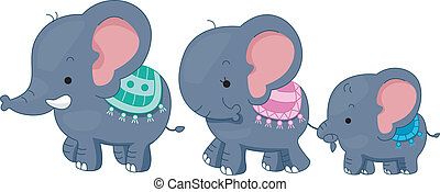 Elephant Family - Illustration Featuring a Family of...