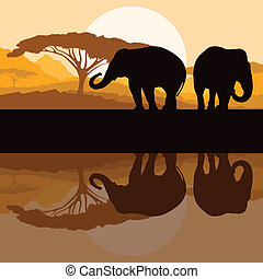 Elephant family in wild Africa mountain nature landscape background illustration vector
