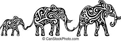 Elephant family tattoo design
