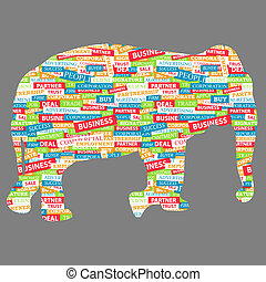Elephant figurine, made up of words on a business topic