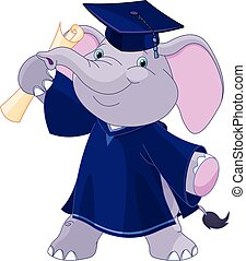 Elephant Graduates - Illustration of cute elephant graduates...
