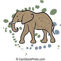 Elephant hand drawn clip art