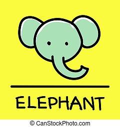 elephant hand-drawn style, Vector illustration.