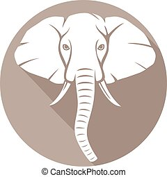 elephant head flat icon