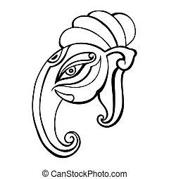 Elephant head.. Ganesha Hand drawn illustration.