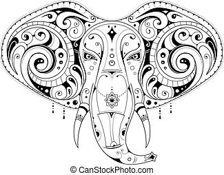 Elephant head illustration