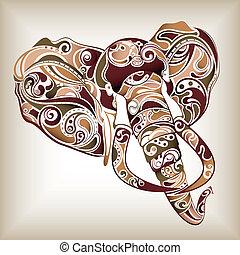 Elephant Head - Illustration of abstract elephant head.