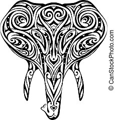 Elephant head ornamented as ethnic style tattoo