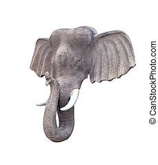 Elephant head statue isolated on white background.
