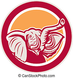 Illustration of an elephant head with tusk set inside cirlce on isolated background done in retro style.
