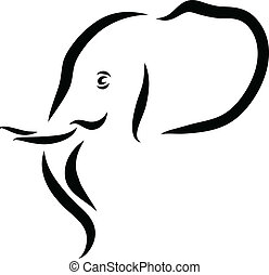 Elephant Head - Vector line art illustration of an African...