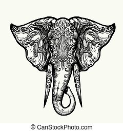Elephant Head Zentangle Illustration