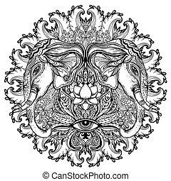Elephant. Hindu Lord Ganesha over ornate mandala pattern. Vector illustration. Vintage decorative. Hand drawn paisley background. Indian motifs. Tattoo, yoga, spirituality.