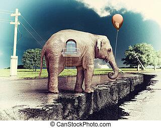 elephant -house on the road