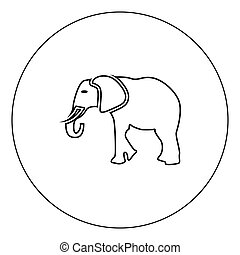 Elephant icon black color in circle vector illustration isolated