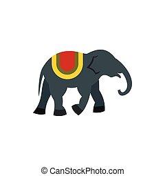 Elephant icon, flat style