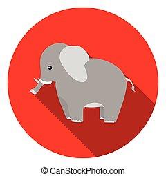 Elephant icon in flat style isolated on white background. Animals symbol stock vector illustration.