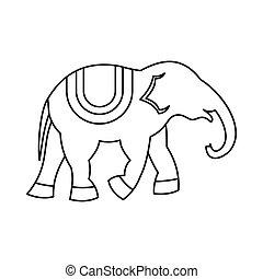Elephant icon, outline style