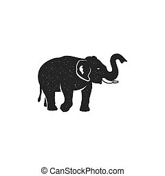 Elephant icon. Vintage hand drawn wild animal symbol. Monochrome retro design, style. With distressed effect. Stock vector pictogram isolated on white background