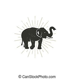 Elephant icon. Vintage hand drawn wild animal symbol. Monochrome retro design, style. With sun bursts. Stock vector pictogram isolated on white background