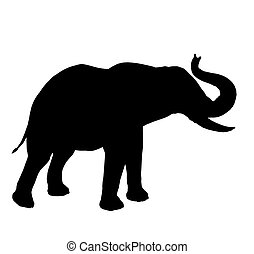Elephant Illustration Silhouette - Black elephant art...