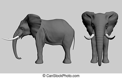 Indian elephant side view cartoon. Illustration of an ...