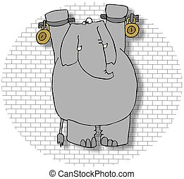 Elephant In A Dungeon - This illustration depicts an...