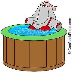 Elephant in a hot tub