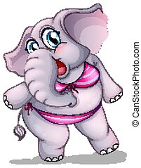 Elephant in bikini on white background