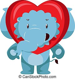 Elephant in love, illustration, vector on white background.