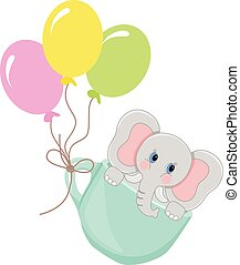 Elephant in teacup with balloons
