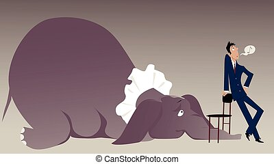Elephant in the room - Nonchalant man attempting to hide an ...