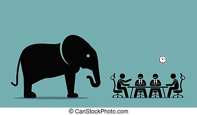Elephant in the room. - Vector artwork illustration depicts...