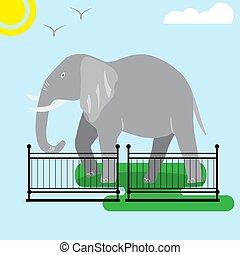 Elephant in the zoo, illustration for children, Flat style, Postcard, cover, games. Vector illustration