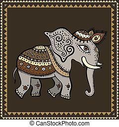 elephant., indian, style., 民族