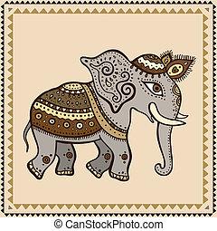elephant., indianas, style., étnico