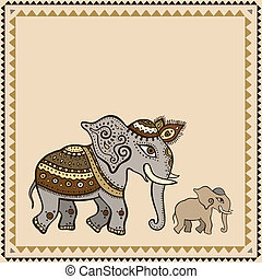 elephant., indien, style., ethnique