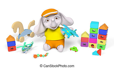 Elephant kid playing with toys 3d rendering