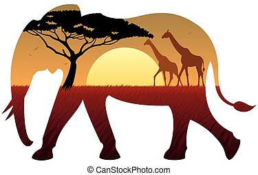 Elephant Landscape - African landscape in silhouette of...