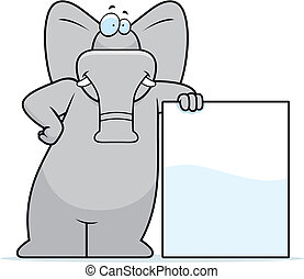 A happy cartoon elephant leaning against a sign.