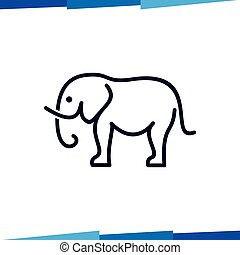 Elephant line logo vector template