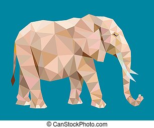 Elephant low polygon style vector